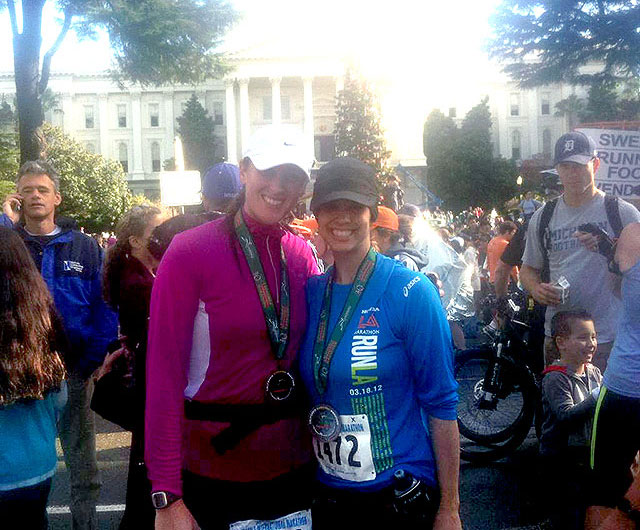 Sarah Dykema and Allie after finishing the Sacramento Marathon
