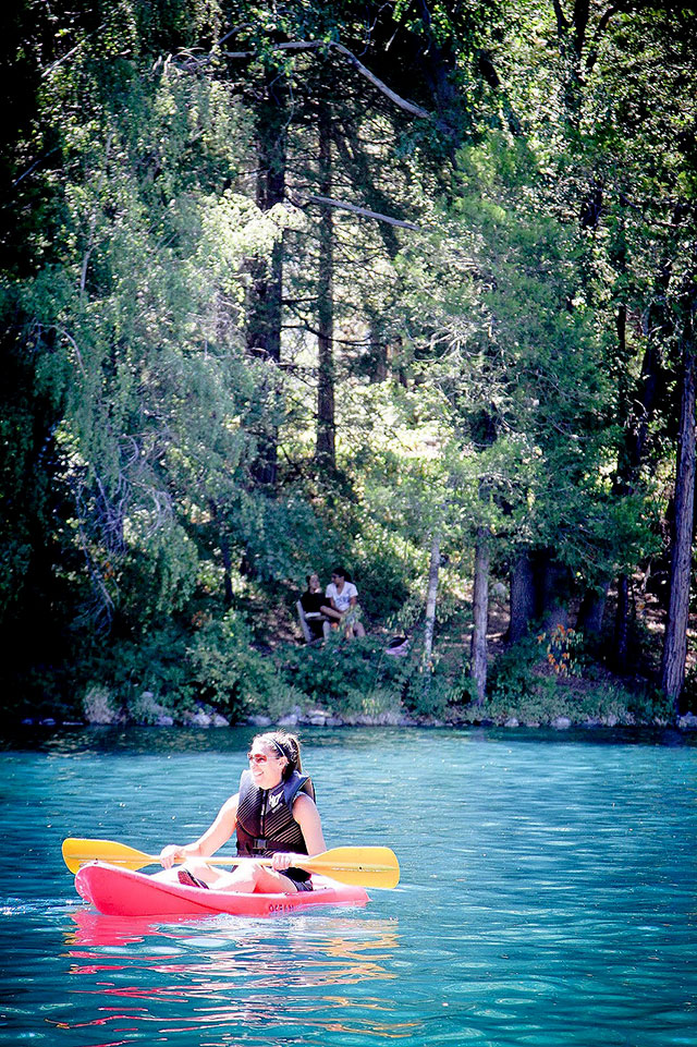 Sarah Dykema kayaking at Forest Home Camp in Southern California
